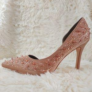SAM EDELMAN Pixie Nude Champagne Studded Heels 10